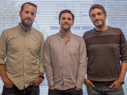 From right to left: Ibai G. Urruchua, Juanjo Feijoo and Javier Cortés, founders of Gate 93.