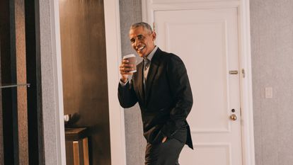 Barack Obama, pictured after the interview.