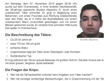The request for help in solving Alejandro G's stabbing distributed by police.