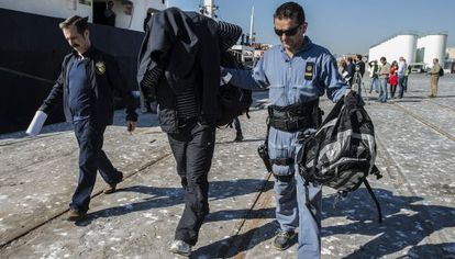 One of the Syrian sailors arrested aboard the Mayak near Málaga.