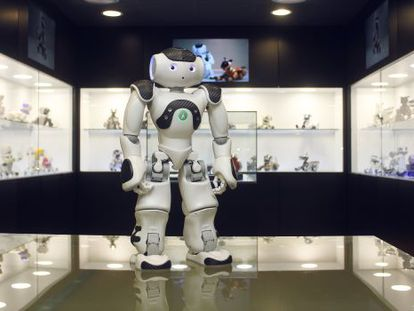 NAO, one of the most advanced humanoids in the world, at The Robot Museum in Madrid.