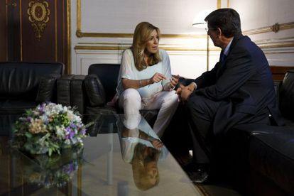 Susana Díaz and Ciudadanos regional representative in Andalusia, Juan Marín.