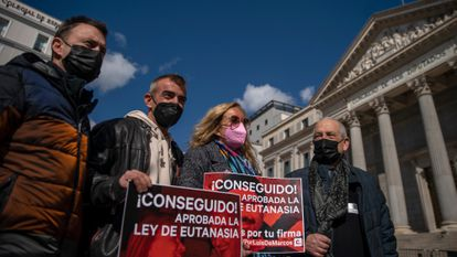 Campaigners in favor of euthanasia outside Congress on Thursday.