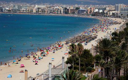 Arenal Beach in Palma de Mallorca in August 2020.
