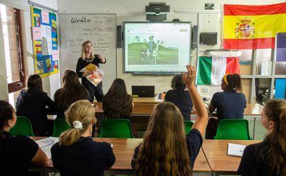 Pie Sánchez teaching a Spanish class at Westside School in Gibraltar.