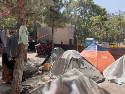 The camp set up by displaced Afghans at Shahr-e Now park in Kabul
