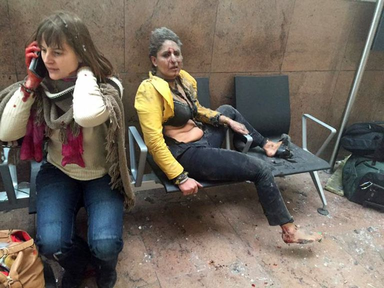 Two women wounded in blasts at Zaventem Airport in Brussels, Belgium, on Tuesday.