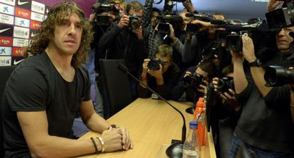 Carles Puyol during Tuesday's press conference.
