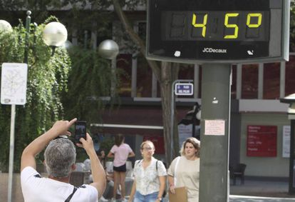 A street thermometer in Ciudad Real on Wednesday.
