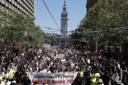 Protesters in San Francisco on Monday.