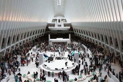 Shoppers in the new World Trade Center mall.