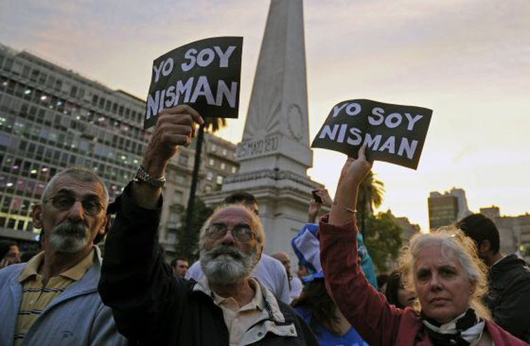 A protest over the Nisman case in Buenos Aires.