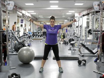 Silvia García, 28, goes to the gym five times a week.