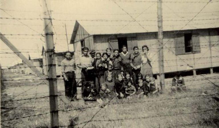 Prisoners in the camp at Montreuil-Baley in 1944. The image is from Jacques Sigot's collection, and was published on Kkrist Mirror's website.