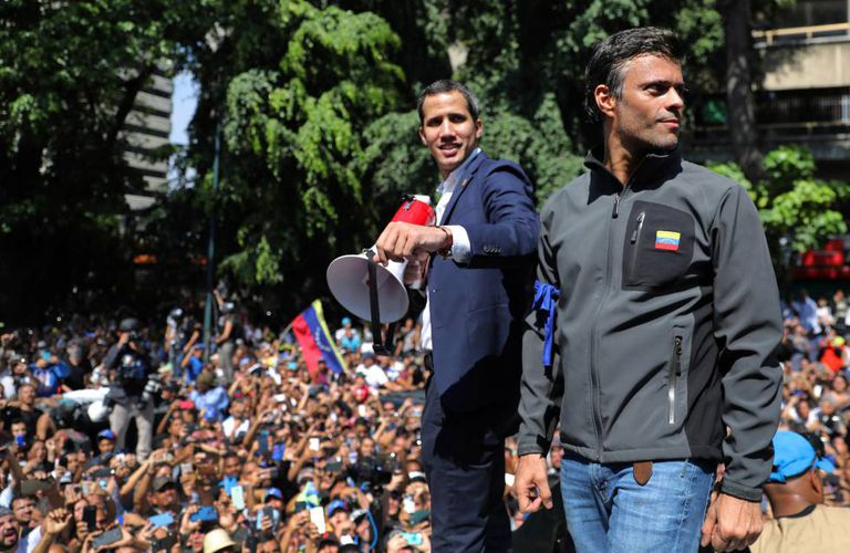Juan Guaidó (l), with Leopoldo López at a demonstration on Tuesday.