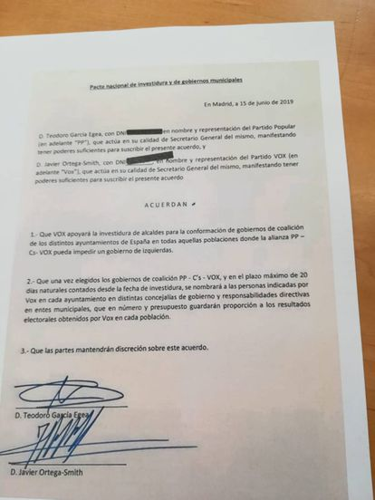 A copy of the deal signed between Vox and the PP.