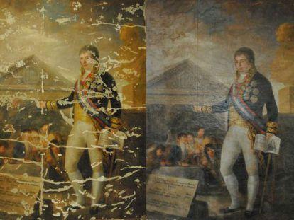 Agustín Esteve and Marqués' copy of Goya's 'Godoy. Protector de la instrucción,' in successive phases of restoration.