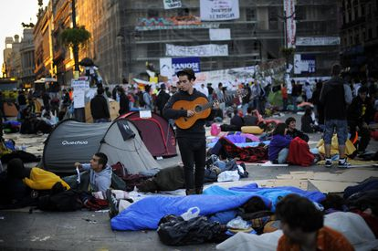 The protest camp in Madrid's Puerta del Sol early in the morning on May 21, 2011.