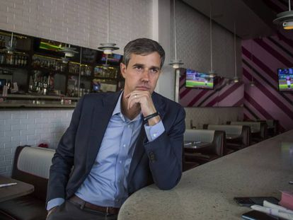Democratic presidential candidate Beto O'Rourke during his interview with EL PAÍS.