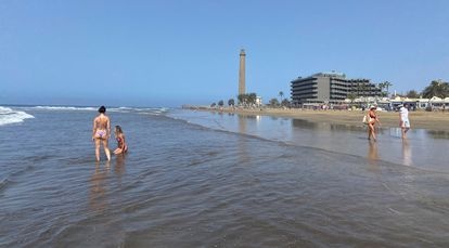 Maspalomas beach in Gran Canaria is normally filled to capacity in late July.