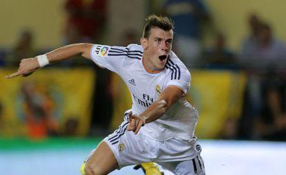 Real Madrid's Welsh striker Gareth Bale celebrates after scoring during the league match against Villarreal.
