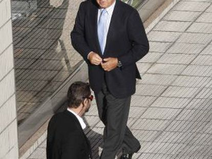 Pescanova's expected new chairman Juan Manuel Urgoit arrives at a shareholders' meeting.
