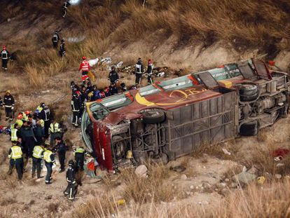 The bus veered off the road and fell 20 meters before crashing to a stop.