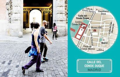 The entrance to the Conde Duque cultural center in Madrid.