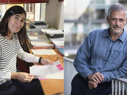 María Blasco, director of CNIO, in Madrid, and Luis Serrano, director of CRG, in Barcelona.