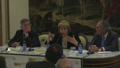 Dolores Vázquez during a seminar in April in Madrid on the presumption of innocence.