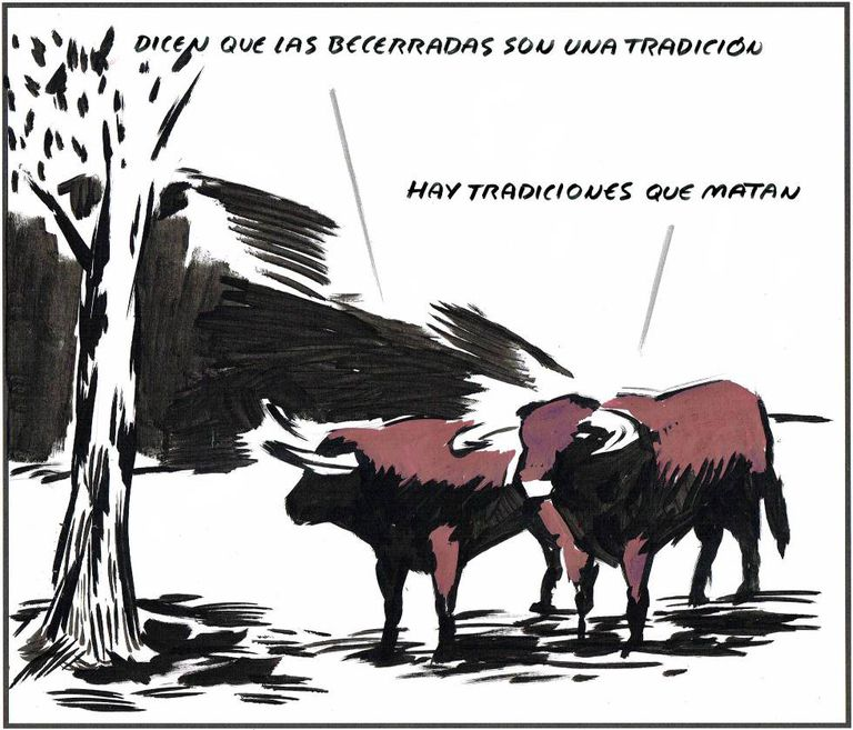 – They say that bullfights with calves are a tradition. – There are traditions that kill...