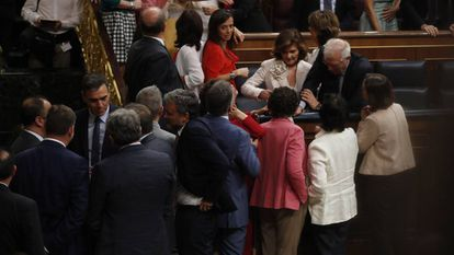 Members of the PSOE at the investiture debate last week.