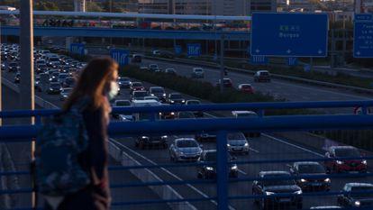 Traffic on the A-1 highway near Sanchinarro in the Madrid region.