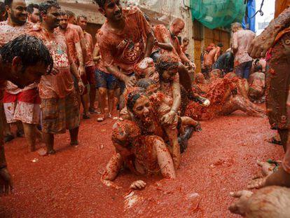The La Tomatina tomato throwing festival in Buñol, Valencia.