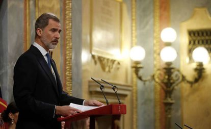 King Felipe IV in Congress on Monday.
