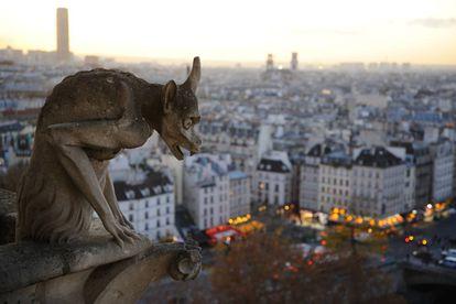 A gargoyle on Notre-Dame de Paris cathedral.
