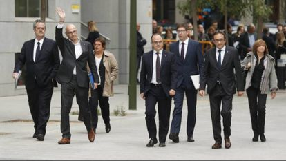 Former Catalan ministers arrive at the Audiencia Nacional (High Court) in this file photo.