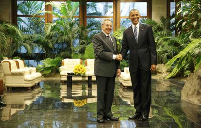 President Barack Obama with his Cuban counterpart Raúl Castro.