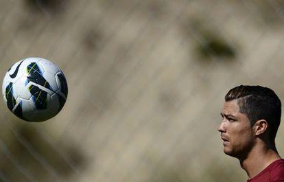 Cristiano Ronaldo in training with the Portuguese national squad.