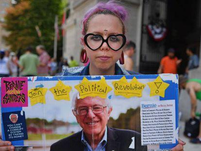 A Bernie Sanders supporter in Philadelphia.