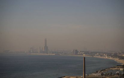 Barcelona under a haze of pollution in February.