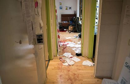 The Charlie Hebdo offices shortly after the attack.