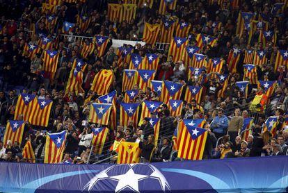 Barça fans holding esteladas at the Copa del Rey final.