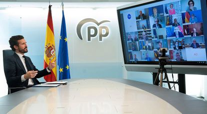 Pablo Casado, president of Spain's Popular Party, in a video conference with the European People's Party.