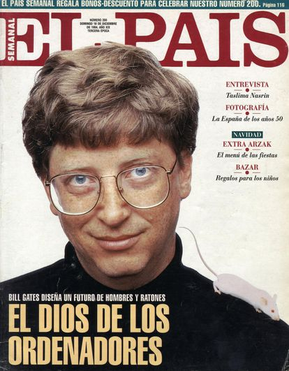 "Bill Gates, on the cover of EL PAÍS Semanal in 1994. Headline reads: ""The god of computers."""