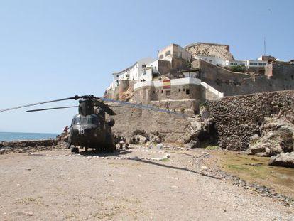 An army helicopter on the Peñon de Vélez de la Gomera