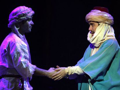 Miquel Fernández (left) plays the role of a bedouin in search of his dream horse.