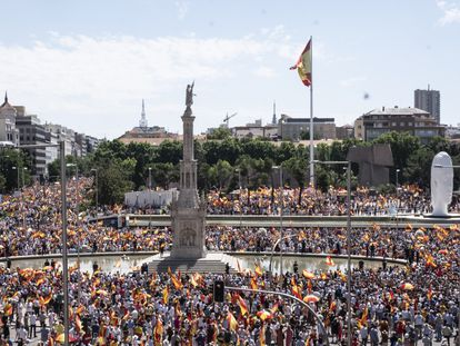 The protest in Madrid's Colón square on Sunday.