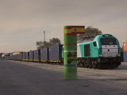 The first train from Yiwu arrives in Madrid in December 2014.