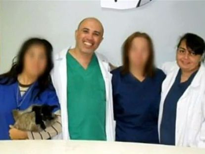Marcelo Gurruchaga, pictured with his wife, who may have died during a liposuction procedure carried out by the Alicante vet
